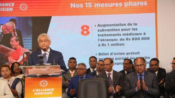 Manifeste électoral de l'Alliance Morisien : la subvention pour un traitement médical à l'étranger passe de Rs 800 000 à Rs 1 million