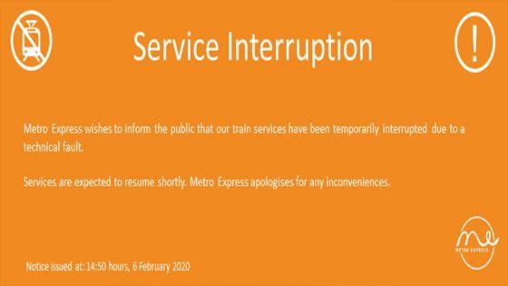 Metro Express : le service temporairementinterrompu