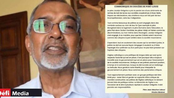Présence du père Jocelyn Grégoire aux côtés du PM : Jean Maurice Labour réagit