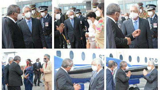 [En images] Une délégation de 10 personnes avec Wavel Ramkalawan, à son arrivée des Seychelles, ce dimanche