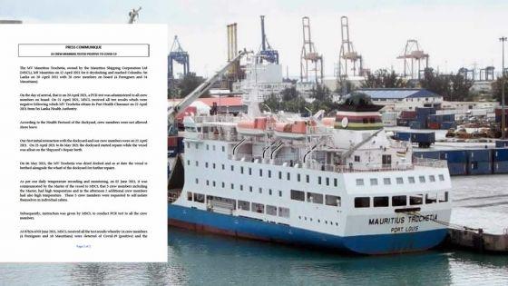 Covid-19 : 10 Mauriciens, membres de l'équipage du Mauritius Trochetia, testés positifs au Sri Lanka