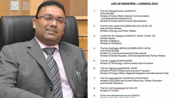 Après la démission de Lutchmeenaraidoo, Yogida Sawmynaden en 5e position dans la hiérarchie gouvernementale