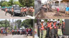Après les inondations à Cottage : les soldats de la SMF à pied d'œuvre