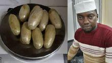 Se présentant comme un employé d'une radio-télévision en Sierra Leone, il est arrêté avec de la drogue dans son estomac à Plaisance