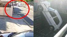 Voiture dans un caniveau – la collision filmée par une caméra de surveillance