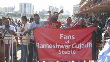[En images] Hippisme : les fans de l'écurie Rameshwar Gujadhur jubilent après la victoire de Nottinghamshire