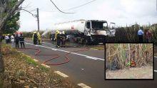 A Bois-Rouge : un camion d'essence prend feu, les flammes se propagent à un champ de canne