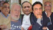 Sir Hamid Moollan, Me Raymond d'Unienville, Me Yousuf Mohamed, Me Oosman Abbasakoor et Me Manogaran Mardemootoo.
