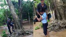 Mon-Goût : prisonnier des eaux, un homme secouru par des policiers