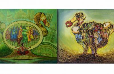 Les deux tableaux de Dev Chooramun exposés au Canada.