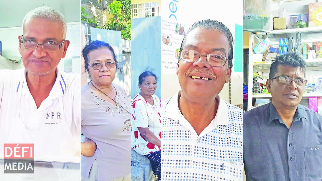 Bundhoo, marchand de dholl puri, à Arab Town, Gladys (à gauche) et Ramone, deux grand-mères de Barkly qui n'auront plus le loisir de s'asseoir devant leurs portes, Hookoom, habitant et commercant de Vacoas et Vikash a herité d'un stand de son père.