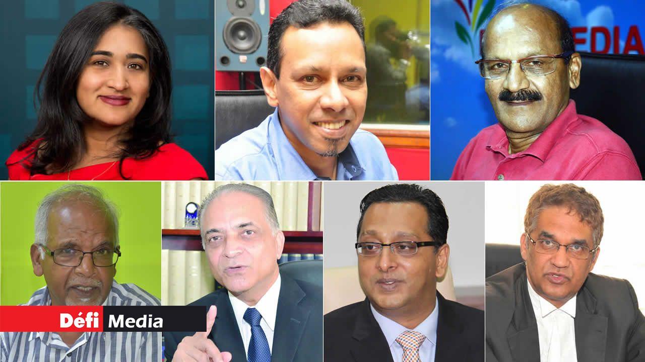 Manisha Dookhony, Rajen Bablee, Faisal Jeerooburkhan, Dharam Ghokool, Me Razack Peeroo, Me Roshi Bhadain et Me Rama Valayden