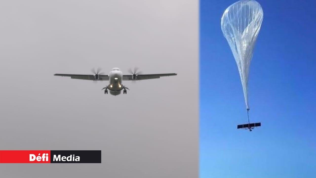 Photomontage. L'appareil d'Air Mauritius a dû retourner à l'aéroport de Plaisance en toute urgence. C'est un ballon-sonde de Google qui a forcé l'appareil à rebrousser chemin