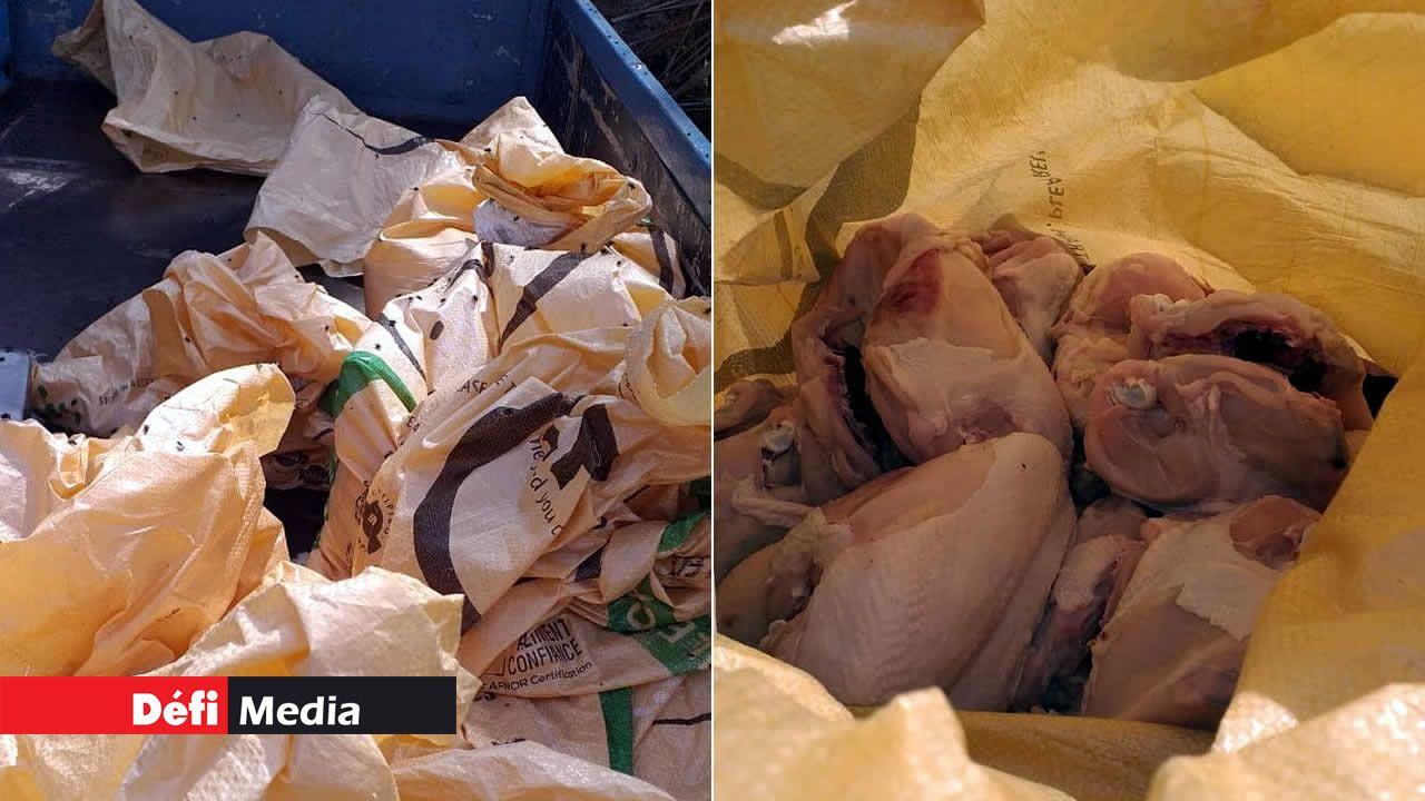 Le poulet était dans des sacs en raphia