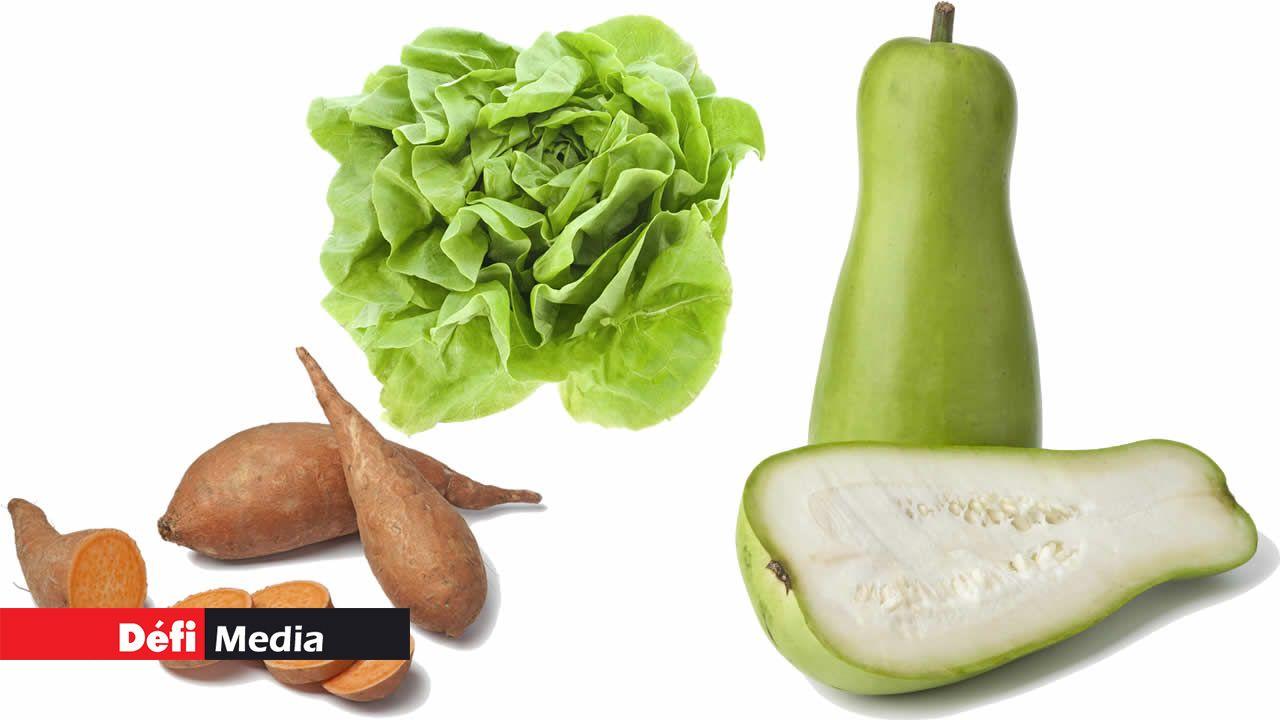 Patates douces, calebasses et laitues