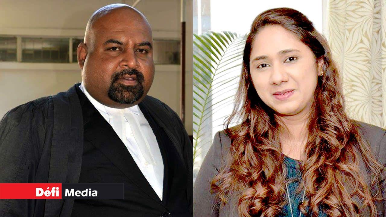 L'avocat Neelkanth Dulloo et L'avocate Tawheen Choomka.