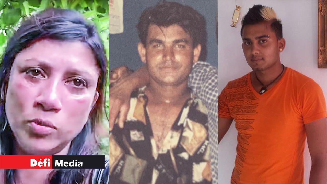 Indira, la mère du suspect, Hiteshwar Domun, la victime et Krishnaveer Domun, le suspect.