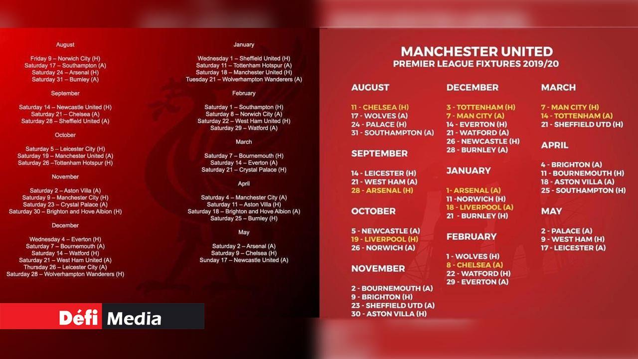 On connait le calendrier de la saison 2019-20 — Angleterre
