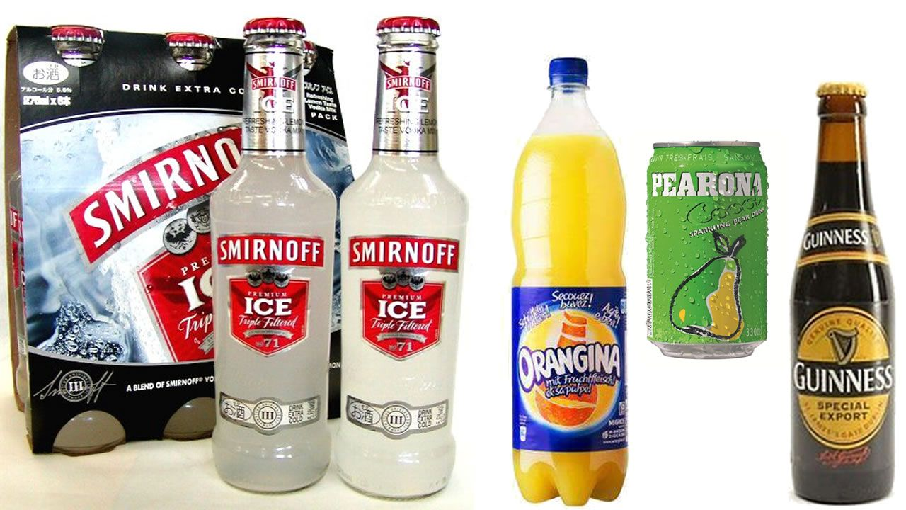 Guinness, Orangina, Pearona et Smirnoff Ice