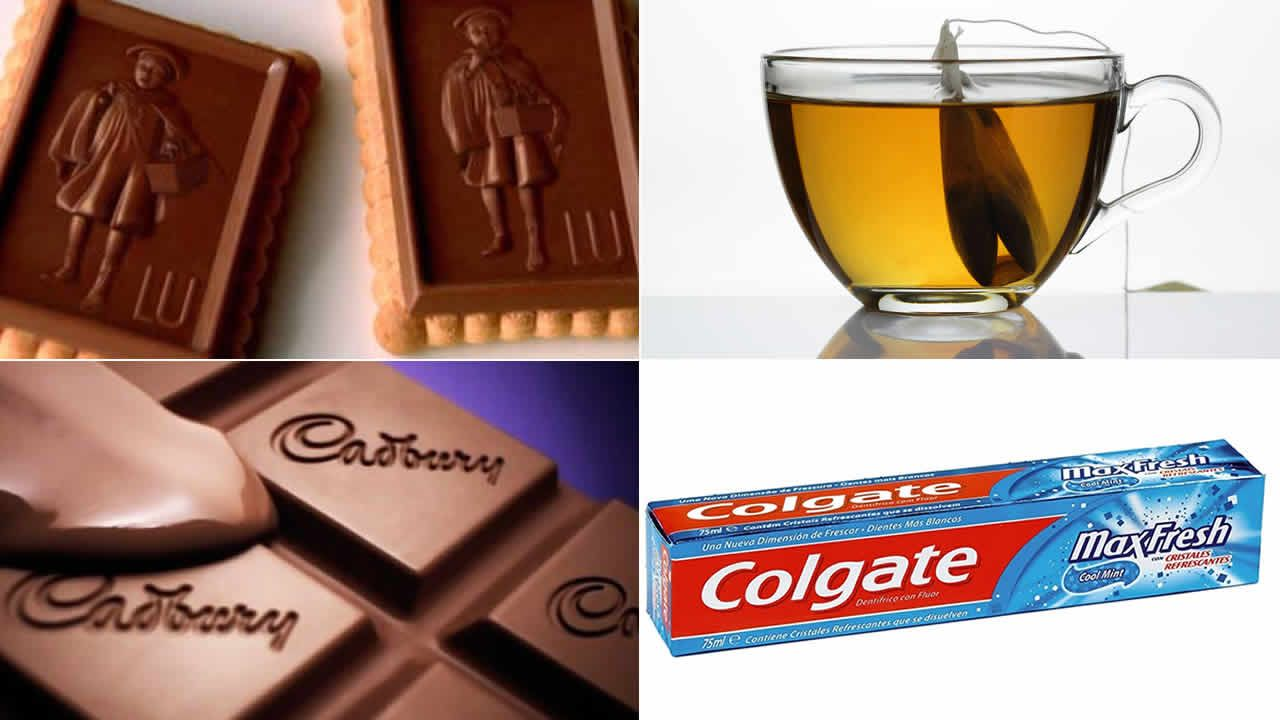 Biscuit, chocolat, dentifrice, thé